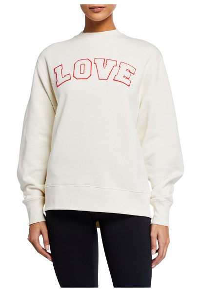 Tory Sport French Terry Love Sweatshirt in ivory pearl