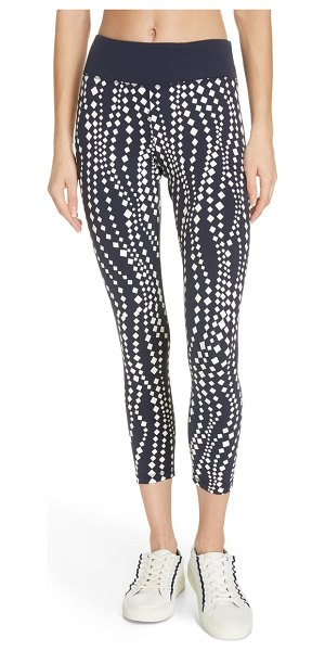 Tory Sport reflective print 7/8 leggings in diamond waves tory navy - Run your best time in these moisture-wicking leggings...