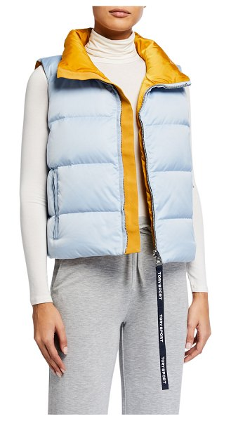 Tory Sport Reversible Down Performance Vest in sky spiced