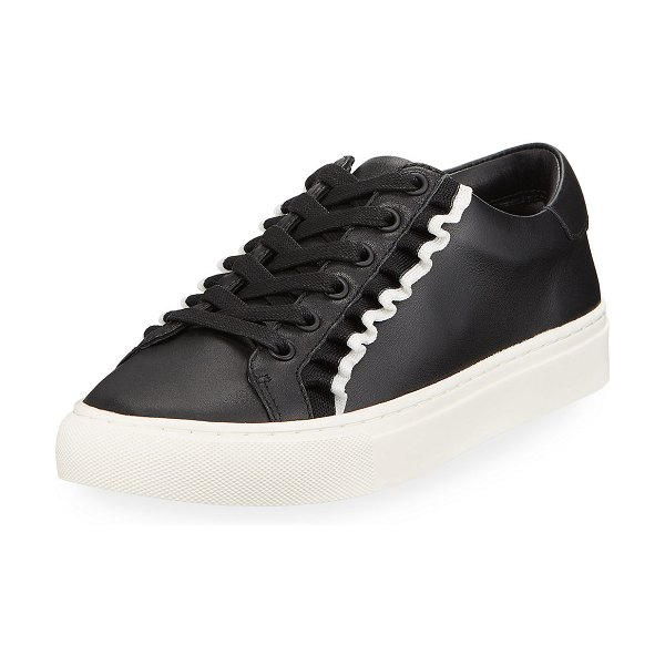Tory Sport Ruffle Leather Low-Top Sneakers in black white