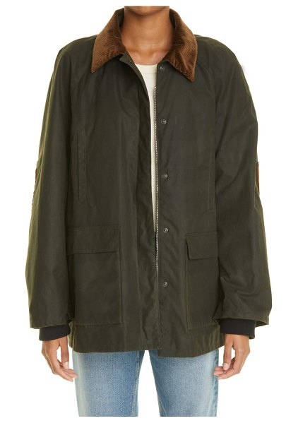 Toteme country waxed cotton canvas jacket in forest