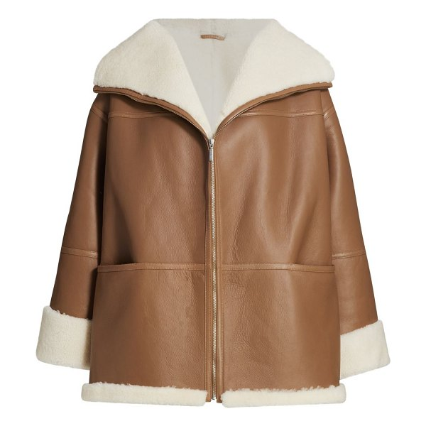 Toteme menfi shearling-trim leather coat in toffee