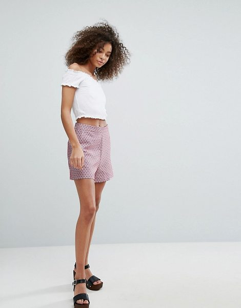 "Traffic People printed short in redblue - """"Shorts by Traffic People, Printed woven fabric, High..."
