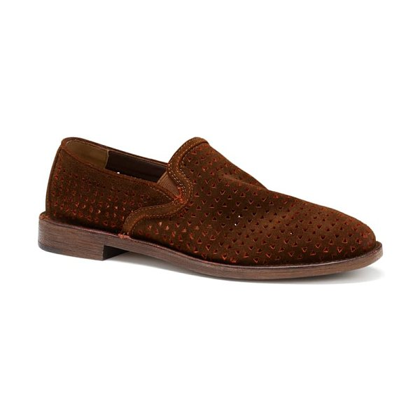 Trask ali perforated flat in brick suede