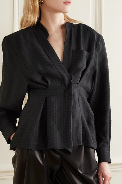TRE by Natalie Ratabesi checked twill blouse in black