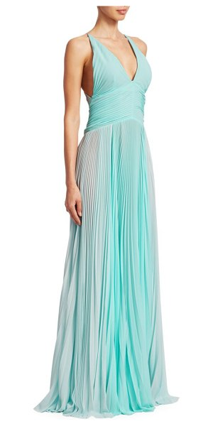 TRE by Natalie Ratabesi Plisse Chiffon Spaghetti Strap Side Slit A-Line Gown in light blue