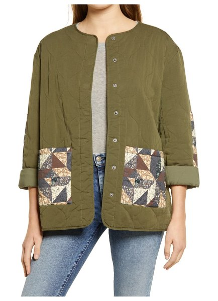 Treasure & Bond patchwork quilted cotton blend jacket in olive- grey multi patchwork