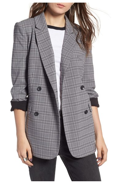 Treasure & Bond plaid oversized blazer in grey castlerock check - This menswear-inspired, double-breasted blazer has...