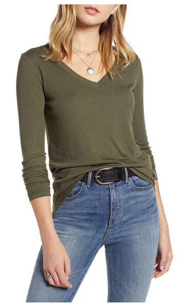 Treasure & Bond ribbed v-neck top in olive sarma