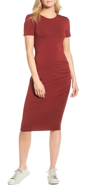 Treasure & Bond side ruched body-con dress in red syrah - This soft stretch-jersey dress is cut with a simple...