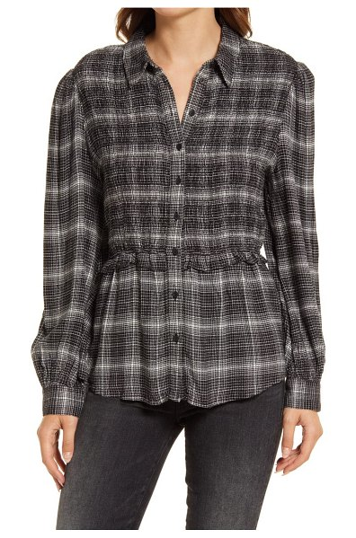 Treasure & Bond smocked textured button-up shirt in black- ivory bethany plaid