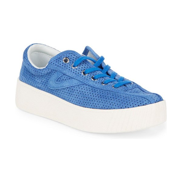Tretorn Nylite Lace Up Sneakers in blue - A bold platform elevates a casually sporty style....