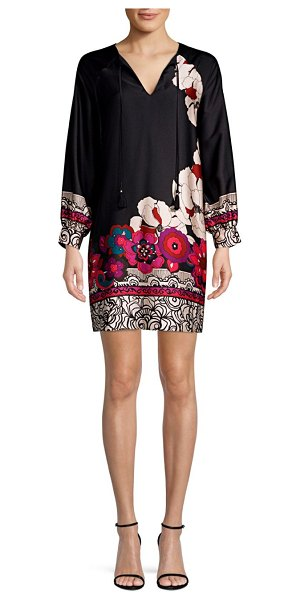 Trina Turk Alabaster Floral Print Shift Dress in black