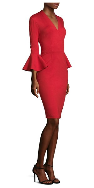 Trina Turk lane bell-sleeve dress in ruby rose - Dress with front and back darting.V-neck. Three-quarter...