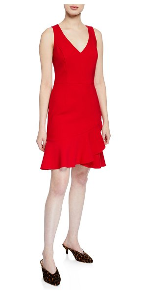 "Trina Turk Spumante V-Neck Sleeveless Double Luxe Dress with Flounce Hem in red - Trina Turk ""Spumante"" dress in double luxe crepe...."