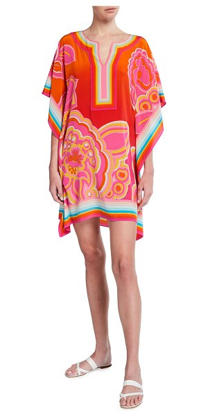 Trina Turk Theodora Floral Print Multi-Stripe Silk Dress in multi