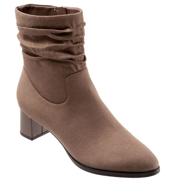 Trotters krista slouchy bootie in dark taupe faux suede