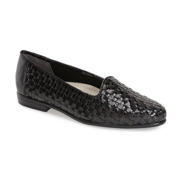 Trotters slip-on in black leather/ black patent