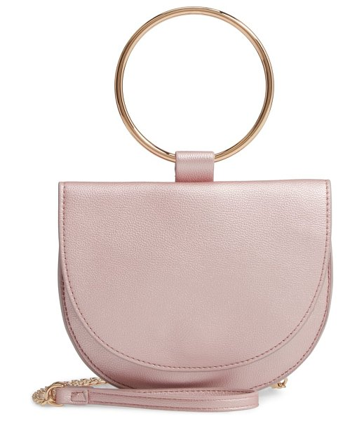 Trouve reese faux leather ring crossbody bag in pink chintz - A shining ring handle and detachable crossbody chain...