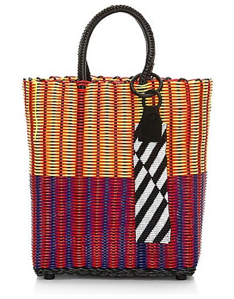 Truss small tote in multi - Small boho-chic tote is elevated with glass beads and...
