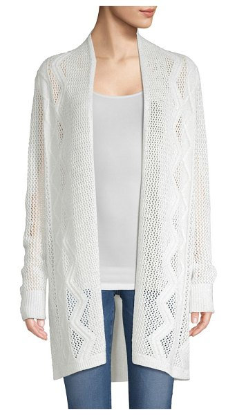 TSE Cable Knit Open Cardigan in white
