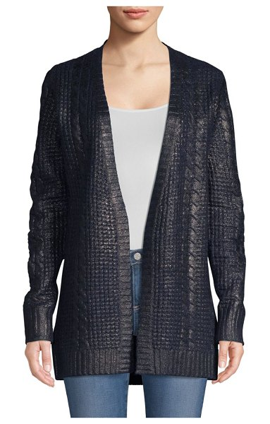 TSE Cashmere Metallic Cabled Cardigan in navy