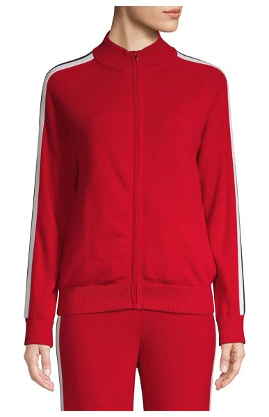 TSE Cashmere Striped Sleeve Bomber Jacket in red