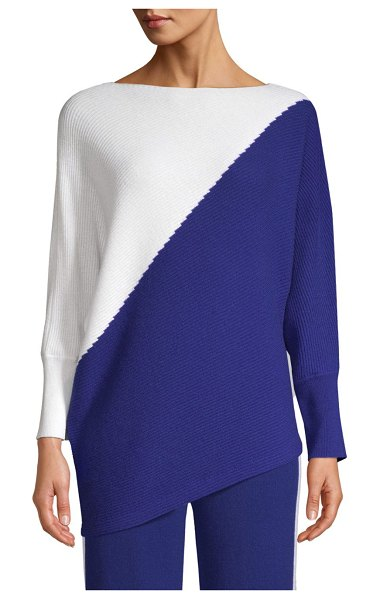 TSE Ribbed Cashmere Colorblocked Sweater in white halogen blue