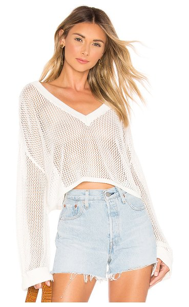 Tularosa Uffie Sweater in white - 60% rayon 40% cotton. Hand wash cold. Open knit fabric....