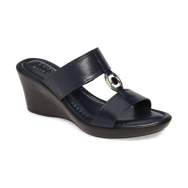 TUSCANY by Easy StreetR tuscany by easy street calla slide sandal in navy leather - A beautifully curved wedge adds contemporary lift to a...