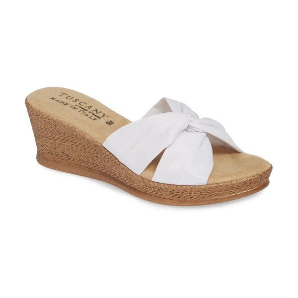 TUSCANY by Easy StreetR tuscany by easy street dinah platform wedge sandal in white fabric - Knotted straps of soft stretch crepe and a generously...