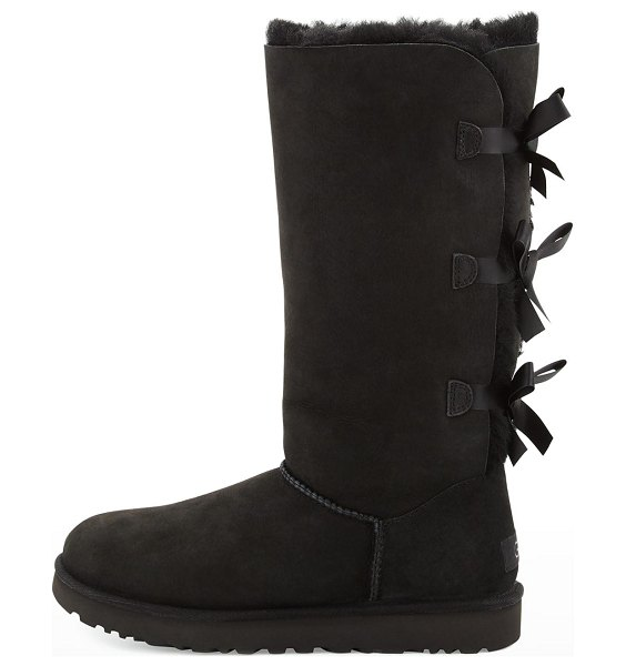 UGG Bailey Bow Tall Shearling Fur Boots in black
