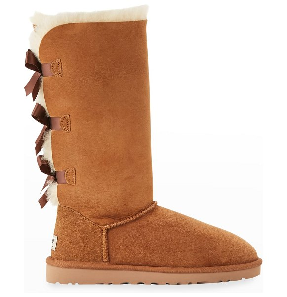 UGG Bailey Bow Tall Shearling Fur Boots in chestnut