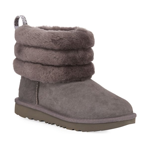 UGG Fluff Mini Quilted Boots in gray