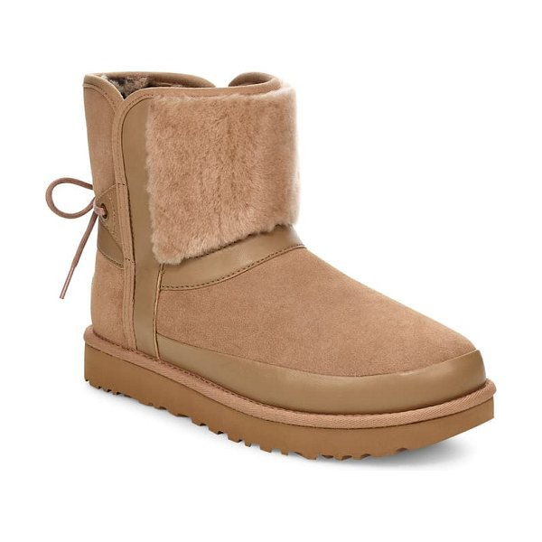 UGG ugg classic bow genuine shearling bootie in amphora suede