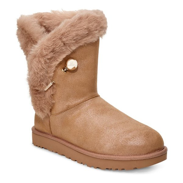 UGG ugg classic fluff pin genuine shearling bootie in antique pearl