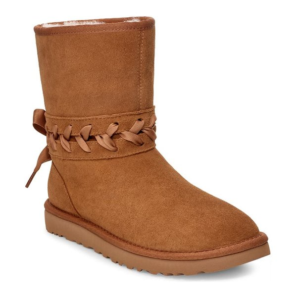 UGG ugg classic laced bootie in chestnut suede