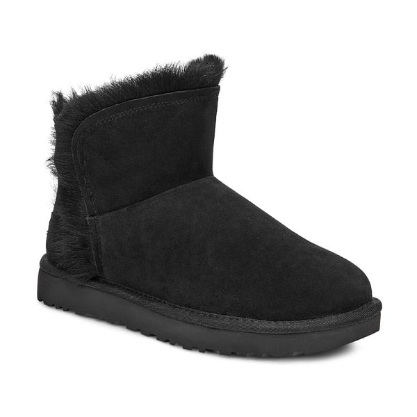 UGG ugg classic mini fluff genuine shearling bootie in black suede