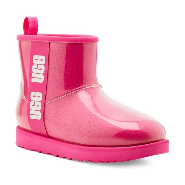 UGG ugg classic mini waterproof clear boot in rock rose