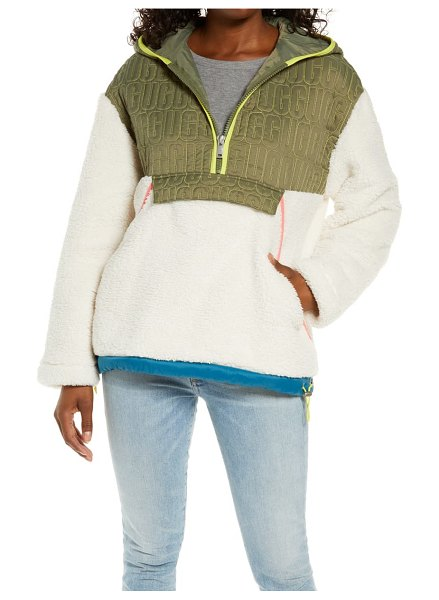 UGG ugg iggy faux fur hooded half-zip pullover in natural multi