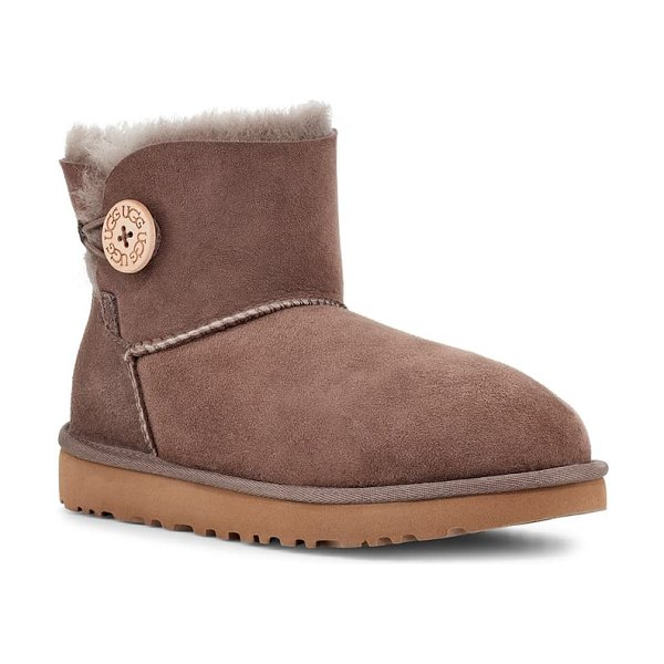 UGG ugg mini bailey button ii genuine shearling boot in mole suede
