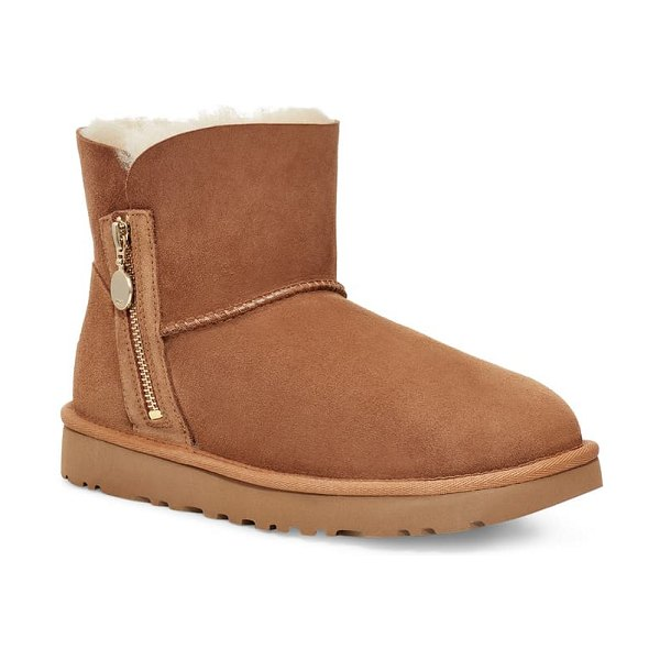 UGG ugg mini bailey zipper boot in chestnut suede