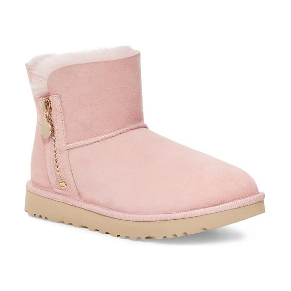 UGG ugg mini bailey zipper boot in pink cloud suede