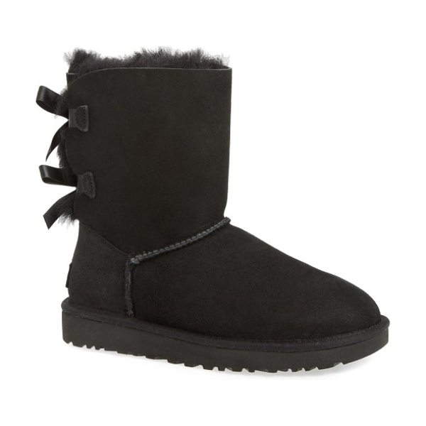 UGG ugg bailey bow ii genuine shearling boot in black suede