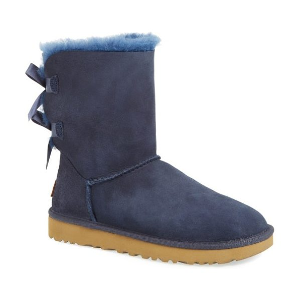 UGG ugg bailey bow ii genuine shearling boot in navy suede