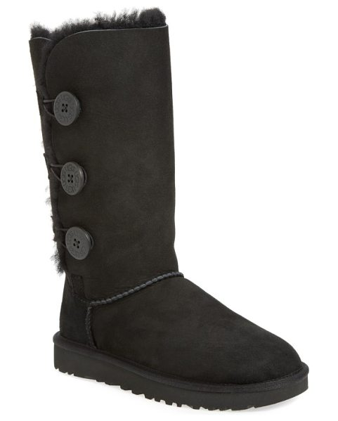 UGG ugg bailey button triplet ii genuine shearling boot in black suede
