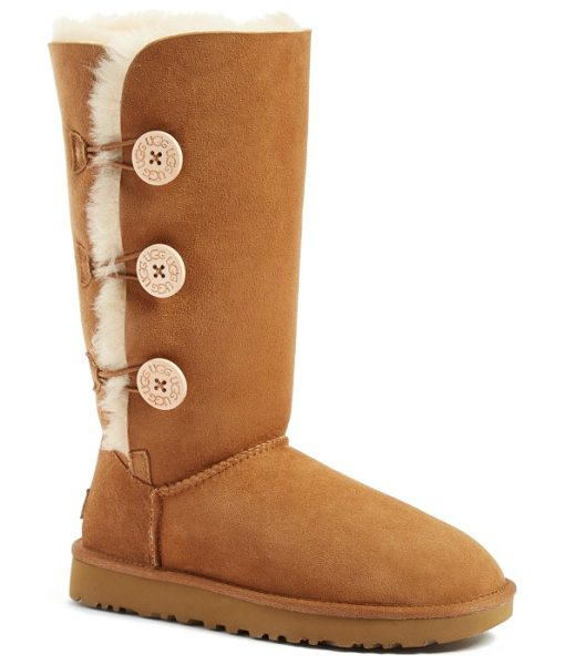 UGG ugg bailey button triplet ii genuine shearling boot in chestnut suede