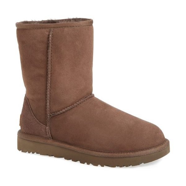 UGG ugg classic ii genuine shearling lined short boot in chocolate suede