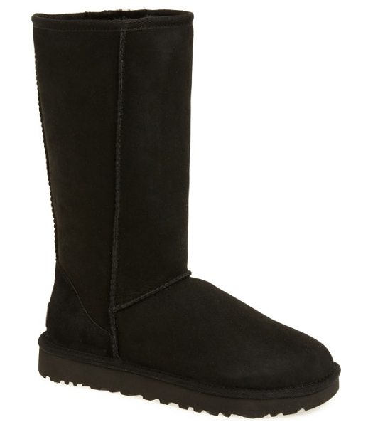UGG ugg classic ii genuine shearling lined tall boot in black suede