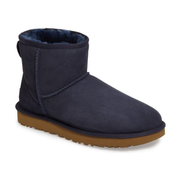UGG ugg classic mini ii genuine shearling lined boot in navy suede